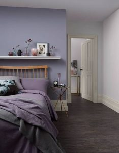 Bedroom with a purple palette