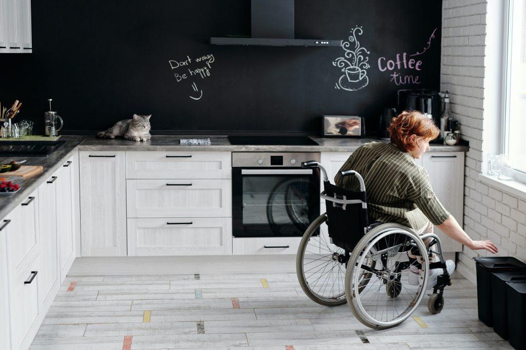 beautiful modern kitchen with black chalk backsplash in Texas